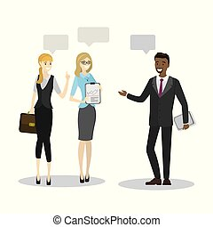 Beauty business people talk or teamwork brainstorming