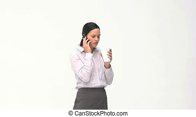 Beauty businesswoman drinking while is phoning