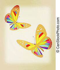 beauty butterflies. 3D illustration. Vintage style.
