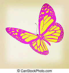 beauty butterfly. 3D illustration. Vintage style.