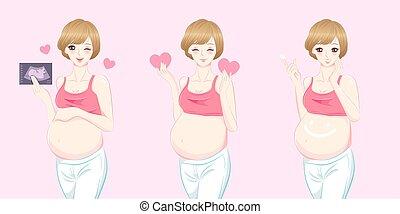 beauty cartoon pregnant women