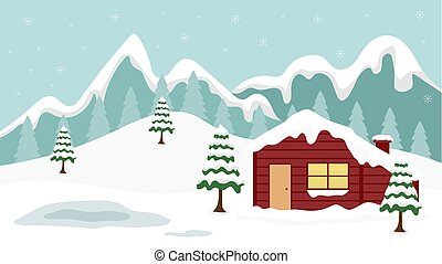beauty cartoon winter landscape background with flat design style