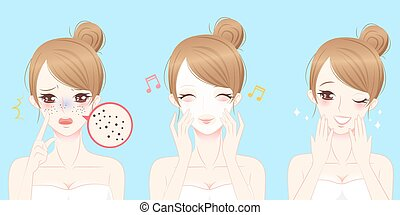 beauty cartoon woman with skincare problem with blue background