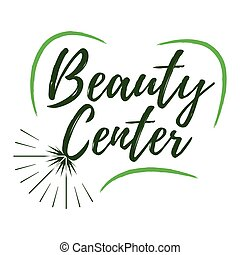 Beauty Center label. Eco style and Wellness Life. Healthy Lifestyle badges. Vector illustration icon with Sunburst