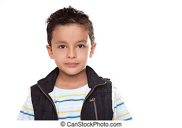Beauty Child looking at the camera over white background