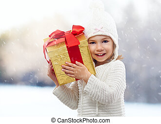 christmas gift - beauty childl with christmas gift