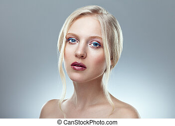 Beauty close up portrait of nordic natural blonde woman