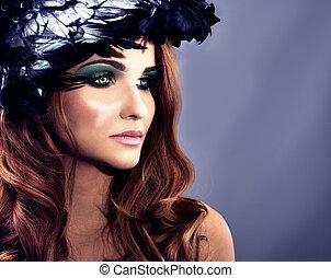 Beauty closeup portrait of redhead woman