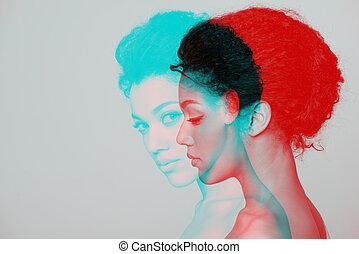 Beauty closeup profile portrait of beautiful woman