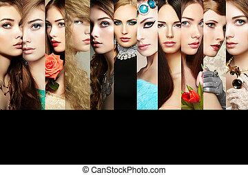 beauty, collage., gezichten, van, vrouwen