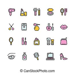 Beauty Colorful Outline Icon Set. Vector
