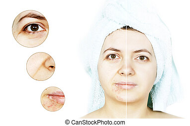 Beauty concept closeup on young women's isolated face