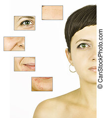 Beauty concept closeup on young women's isolated face -...