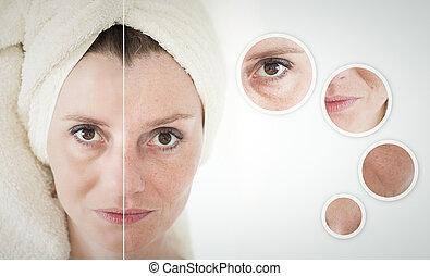 beauty, concept, -, huidzorg, anti-veroudert, procedures, verjonging, het tilen, verscherping, van, gezichts, huid