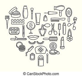 Beauty cosmetic and make up icon set
