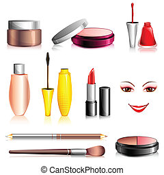 illustration of set of beauty and fashion cosmetic on isolated background