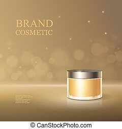Beauty cosmetic product poster cream or face skincare premium liquid container, sparkling background. 3D golden bottle package illustration.