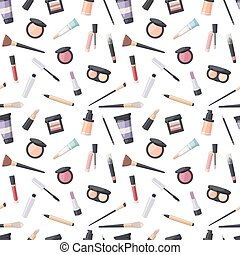 Beauty cosmetic seamless pattern - Makeup icons perfume...