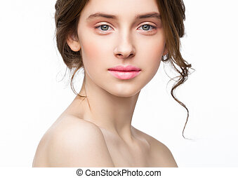 Beauty cute fashion model with natural make up on white...