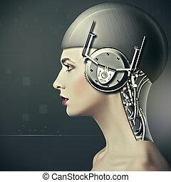 Beauty cyborg woman portrait, sci-fi concept