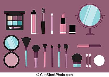beauty desk header flat icon style vector illustration