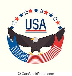 beauty eagle with american ribbon symbol
