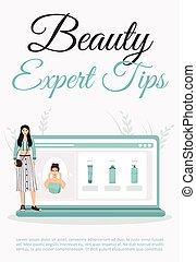 Beauty expert tips poster flat vector template. Skincare ...