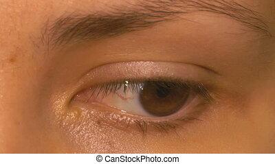 Beauty eye blinking macro close up