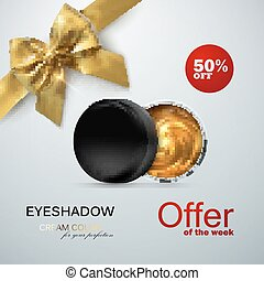 Beauty eye shadows ads. Cosmetics package design. 3d vector...