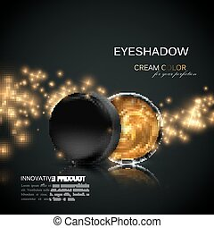 Beauty eye shadows or cheek blush ad. Cosmetics package...