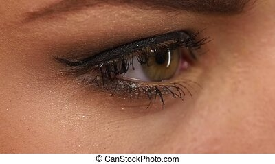 beauty eye with long eyelashes. close up. Slow motion