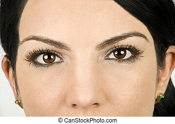 Beauty eyes - Part of beautiful woman face with brown eyes