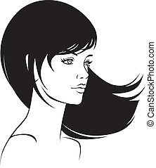 beauty face girl portrait - beauty vector face girl portrait