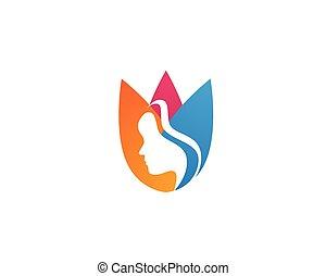 Beauty face hair logo women