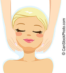 Beauty Facial Massage - Pretty blonde woman enjoying facial ...