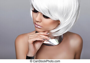 Beauty Fashion Blond Girl. Portrait of Sexy Woman. White Short Hair. Isolated on Grey Background. Face Close-up. Hairstyle. Fringe. Vogue Style.