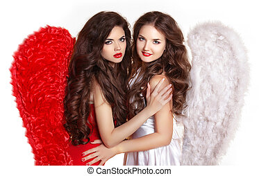 Beauty fashion brunette girls wearing in angel costume with...