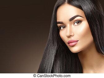 Beauty fashion girl face portrait, brunette young woman closeup