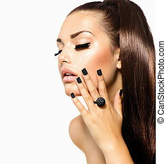 Beauty Fashion Girl with Long Hair. Trendy Caviar Black Manicure