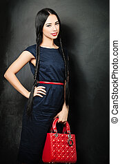 Beauty Fashion Glamour Girl over black background