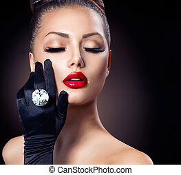 Beauty Fashion Glamour Girl Portrait over Black