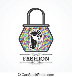 Beauty & fashion icon with handbag