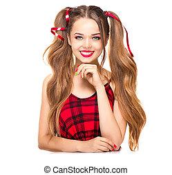Beauty fashion model girl isolated on white background