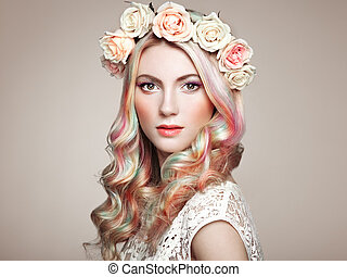 Beauty fashion model girl with colorful dyed hair - Beauty...