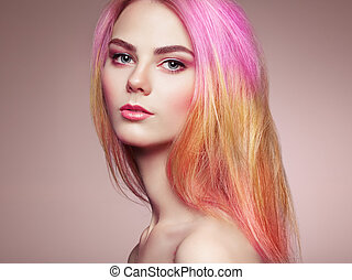 Beauty fashion model girl with colorful dyed hair. Girl with...