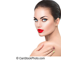 Beauty fashion model woman. Girl with red sexy lips and blue eyes