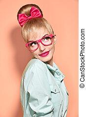 Beauty fashion nerdy woman thinking, glasses. Pinup