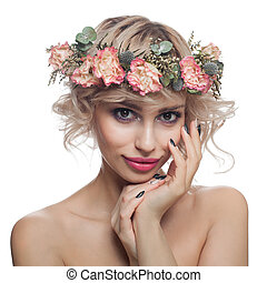 Beauty Fashion Portrait of Cute Model Woman with Short Haircut, Makeup and Flowers Crown Isolated