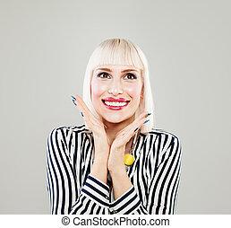 Beauty fashion portrait of surprised happy woman