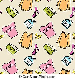 Beauty fashion, sale, shopping seamless background